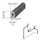 Kantenschutzprofil, Plattendicke: 1-1 mm BxH: 8.5x5.6 mm grau