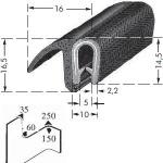 Kantenschutzprofil, Plattendicke: 1-4 mm BxH: 14.5x16 mm schwarz