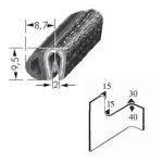 Kantenschutzprofil, Plattendicke: 1-2 mm BxH: 9.5x8.7 mm schwarz