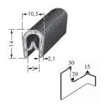 Kantenschutzprofil, Plattendicke: 1-4 mm BxH: 14x10.5 mm schwarz