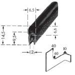 Kantenschutzprofil, Plattendicke: 1-2 mm BxH: 14.5x6.5 mm schwarz