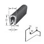 Kantenschutzprofil, Plattendicke: 1-3 mm BxH: 12x9 mm schwarz