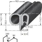 Kantenschutzprofil, Plattendicke: 1-4 mm BxH: 20.5x23.5 mm schwarz