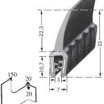 Kantenschutzprofil, Plattendicke: 1-3 mm BxH: 33x7 mm schwarz