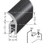 Kantenschutzprofil, Plattendicke: 1-3 mm BxH: 27x7.2 mm schwarz