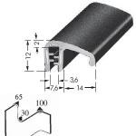 Kantenschutzprofil, Plattendicke: 1-3 mm BxH: 12x17.8 mm schwarz