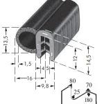 Kantenschutzprofil, Plattendicke: 1.5-3 mm BxH: 13.5x16 mm schwarz