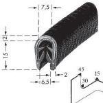 Kantenschutzprofil, Plattendicke: 4-6 mm BxH: 17x7.5 mm schwarz