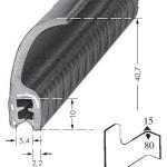 Kantenschutzprofil, Plattendicke: 2-4 mm BxH: 40.7x9.8 mm schwarz