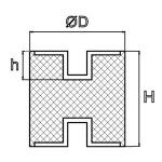 Gummidaempfer 20x20 mm Typ C M6x6