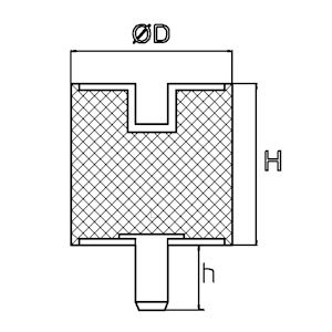 Trillingsdemper - Type B 40x30 M8x20